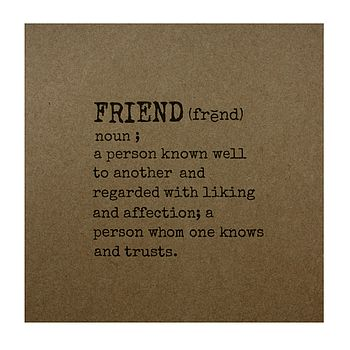 'Friend' Definition Greetings Card