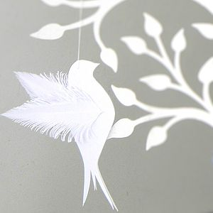 Six Hand Crafted Wishing Tree Wedding Dove Tags - bunting & garlands