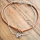 Leather And Silver Heart Friendship Bracelet