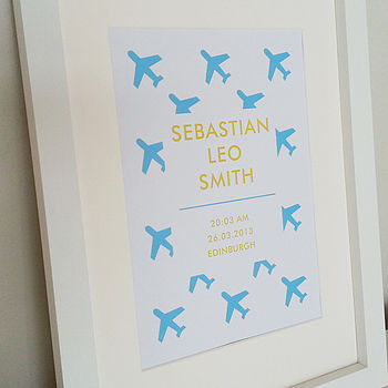 Personalised New Baby Plane Print