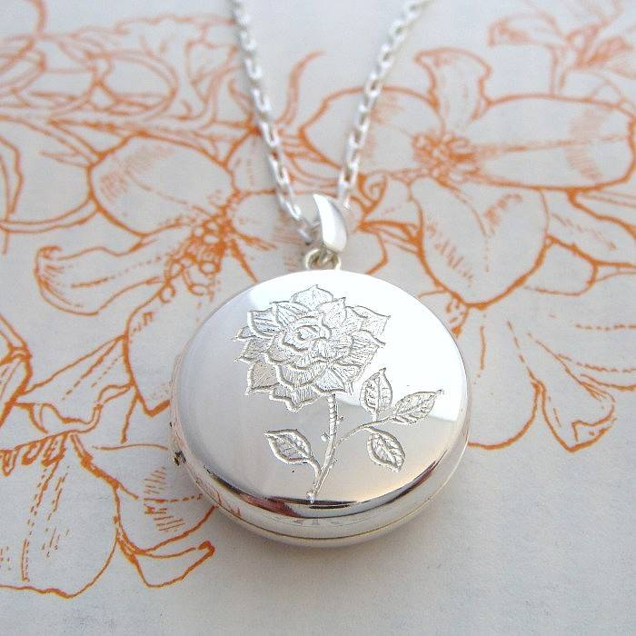 jewelry silver pendant sterling lockets sunflower engraved flower bling pmr necklace inch oval locket