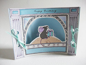 Mini Theatre Mouse Birthday Card - birthday cards