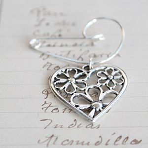Filigree Heart Brooch - summer sale