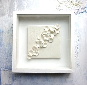 Framed Handmade Porcelain Flower Tile