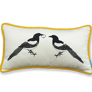 Mr And Mrs Magpie Cushion - embroidered & beaded cushions