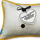 Cushion with Personalised Heart Tag
