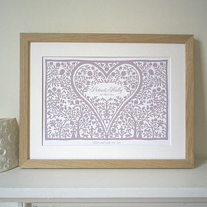 Personalised Anniversary Romantic Love Heart Print