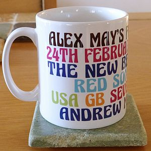 Personalised Favourites Brights Ceramic Mug - tableware