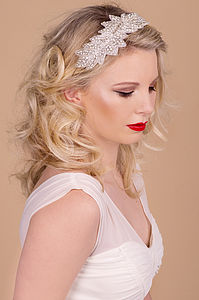 Leaf Design Beaded Rhinestone Hairband - hair accessories