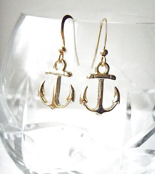 Gold Plated Anchor Earrings