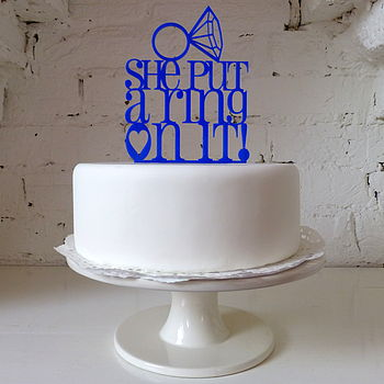 She Put A Ring On It Cake Topper in Royal Blue