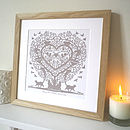 Personalised Cats In A Tree Heart Print