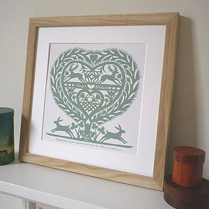 Personalised Anniversary March Hares Print