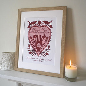 Personalised Lovers 'Hand In Heart' Print