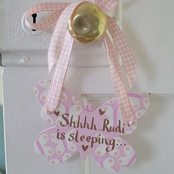 personalised butterfly sign for a girls bedroom