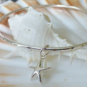 Delicate Silver Star Charm Bangle
