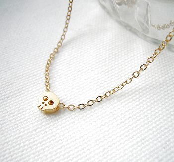 Gold Plated Skull Necklace