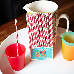 Pack Of 25 Retro Paper Straws