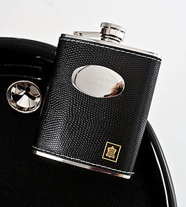 Personalised Leather Hip Flask Black