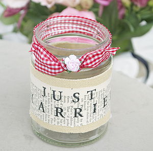 'Just Married' Recycled Jam Jar Tea Light - candles & candlesticks