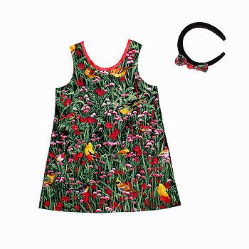 Girl's Birds And Flowers Dress