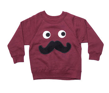 Boy's Moustache Applique Sweater