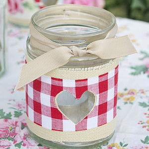 Gingham Jam Jar Candle Holder - room decorations