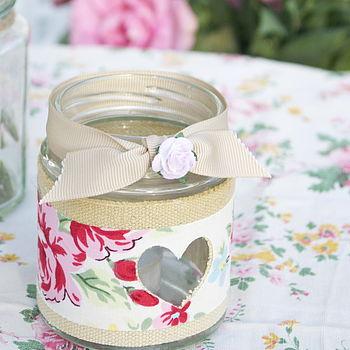 Rose Jam Jar Candle Holder