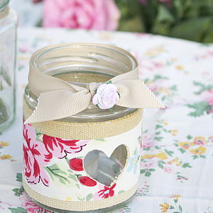 Rose Jam Jar Candle Holder - votives & tea light holders
