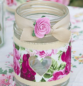 Claret Rose Recycled Jam Jar Light - room decorations