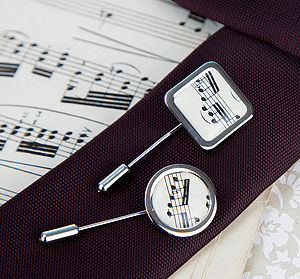 Music Score Sheet Tie Pin - ties