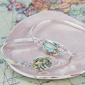 Map Personalised Location Bracelet Bangle - jewellery for her
