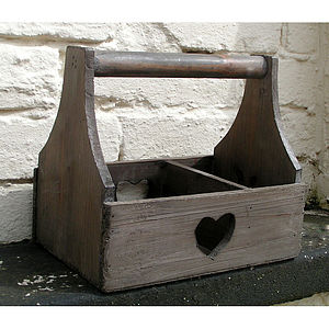 Reclaimed Wood Garden Heart Trug - decorative accessories