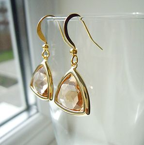 Champagne Faceted Earrings - gifts for her