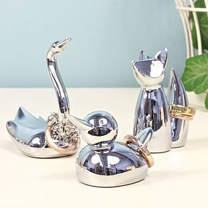 Chrome Animal Ring Holder - jewellery storage & trinket boxes