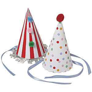 Eight Toot Sweets Paper Party Hats - table decorations