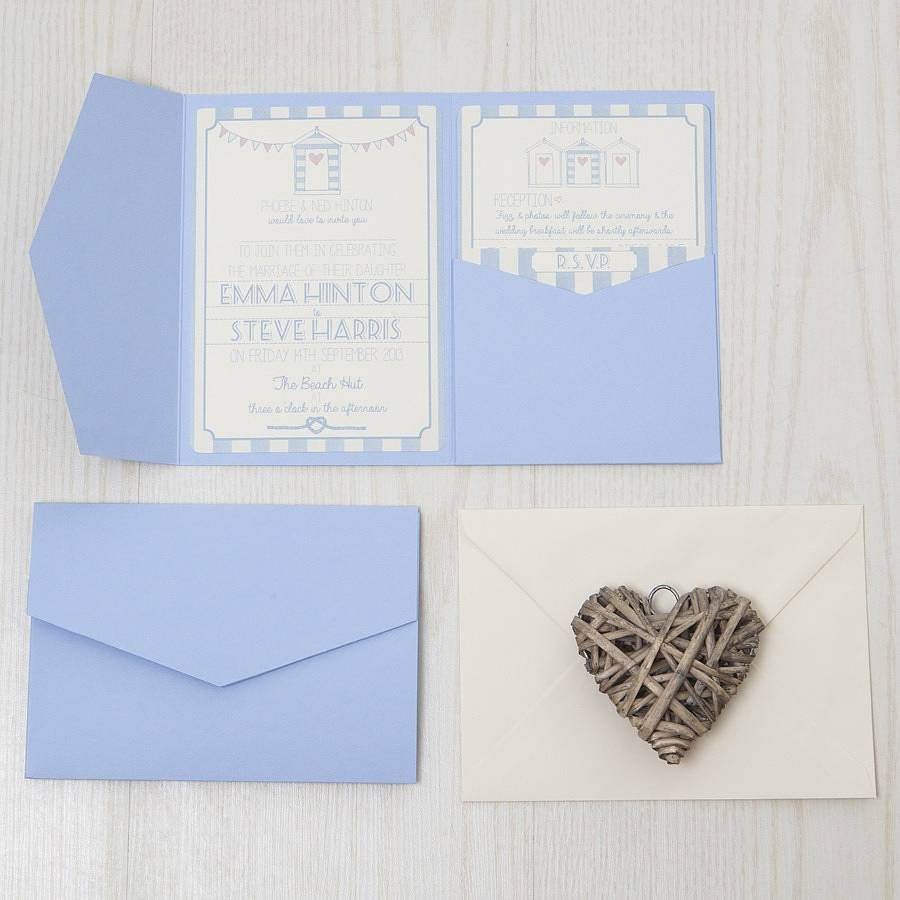 pocketfold beach hut wedding invitation by lovely jubbly designs ...