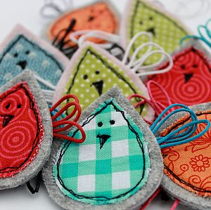 Fabric Birdie Brooch - pins & brooches