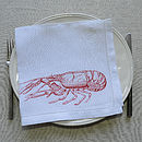 Crustaceans Lobster Linen Table Napkin Orange