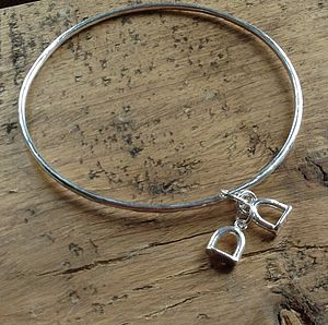 Stirrup Solid Silver Charm Bangle - bracelets & bangles