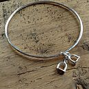 Stirrup Solid Silver Charm Bangle