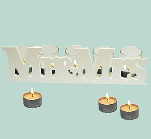 'Mr And Mrs' Wedding Tea Light Holders - candles & candlesticks