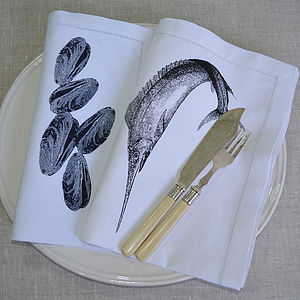 Mussels Or Swordfish Table Napkin - table linen