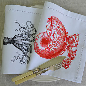 Shell Bowl and Octopus Linen Table Napkin