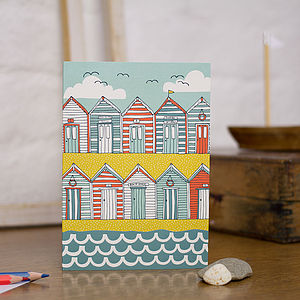Beach Huts Blank Greetings Card