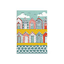 Beach Huts blank card on white