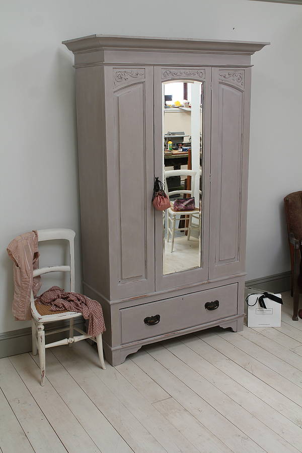 Vintage Distressed Oak Mirror Door Wardrobe By Distressed
