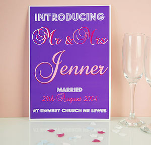 Personalised 'Introducing Mr & Mrs…' Print - view all sale items