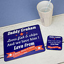 Thumb personalised american placemat coaster set