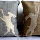 Hessian Boxing Hare Cushion